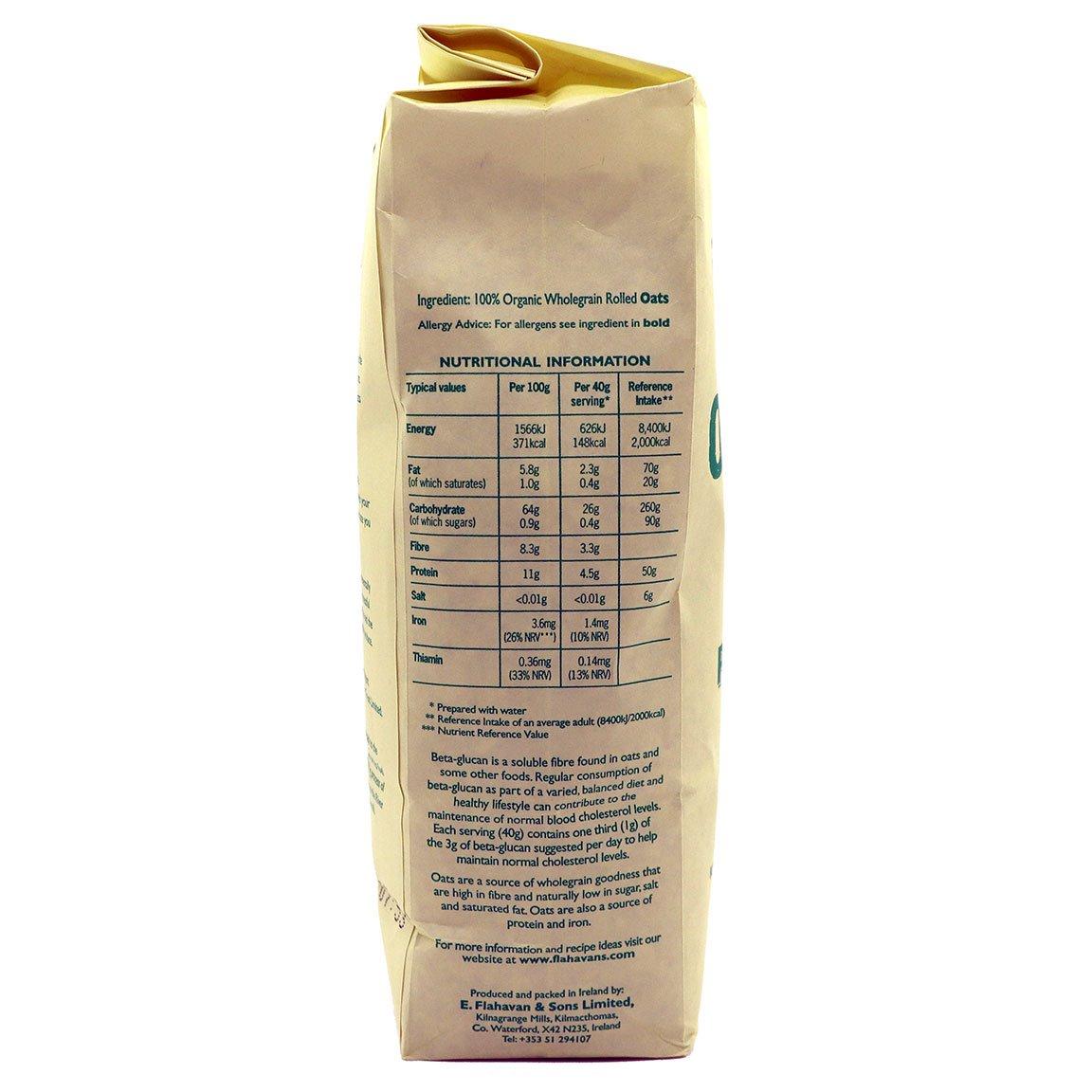 Flahavan's 100% Wholegrain Organic Porridge Oats Nutrition Label
