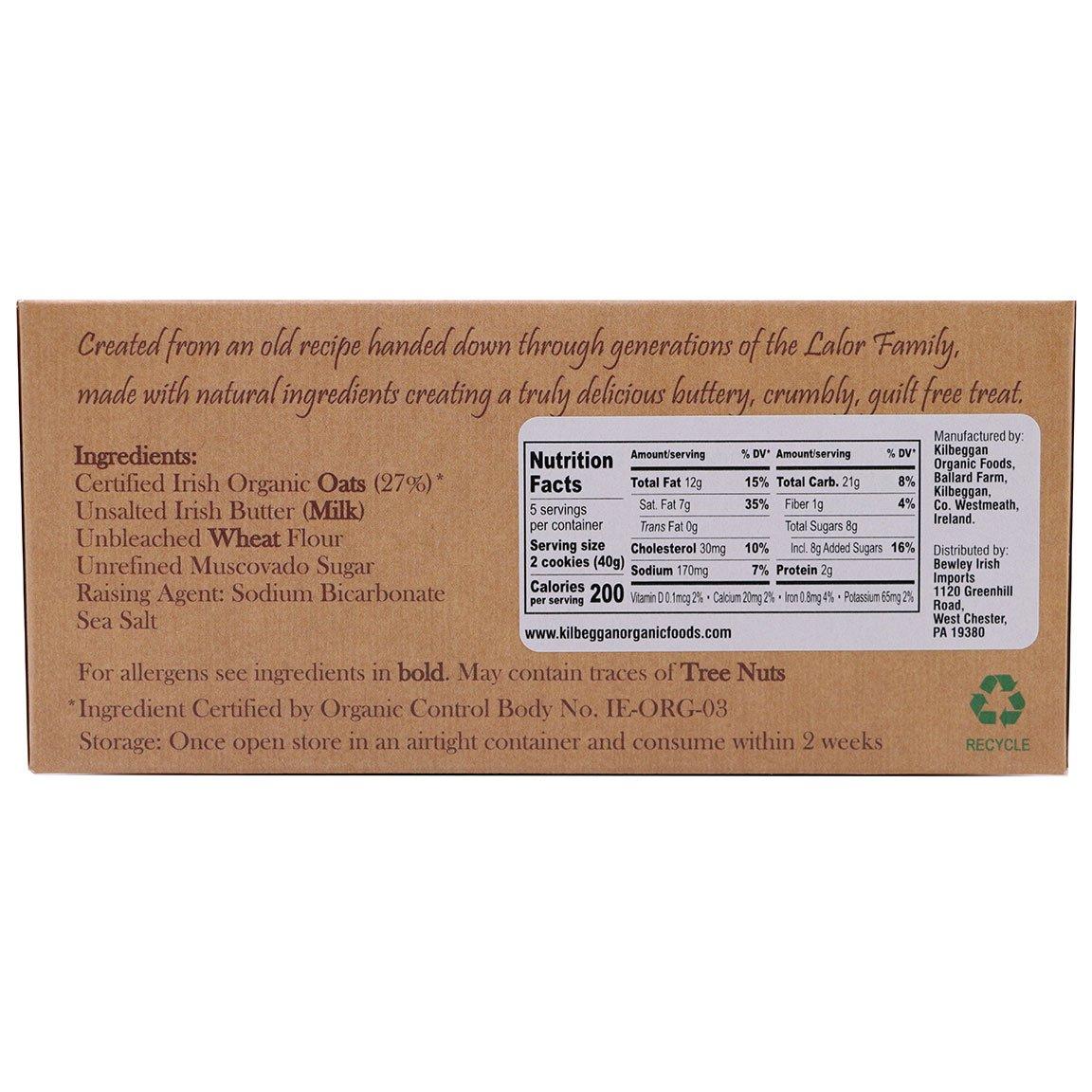 Kilbeggan Original Irish Oat Cookies - ingredients