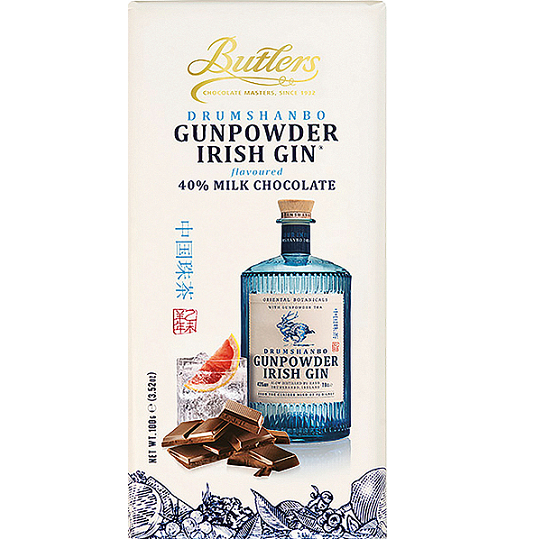 Butlers Drumshanbo Gunpowder Irish Gin Flavored 40% Milk Chocolate Bar